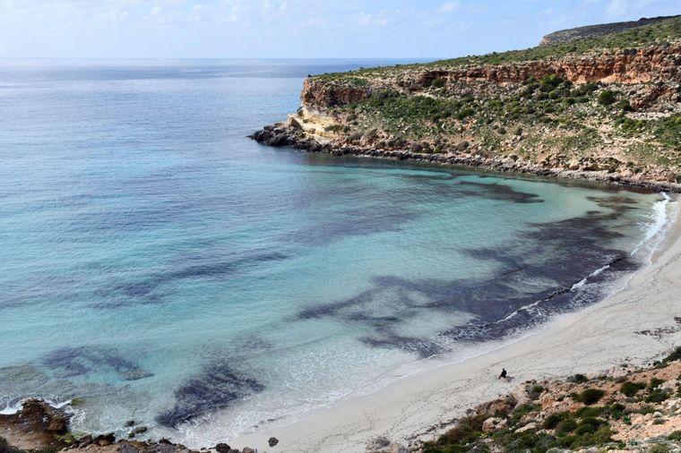 Spiaggia dei Conigli auf Lampedusa zwischen Sizilien und Tunesien