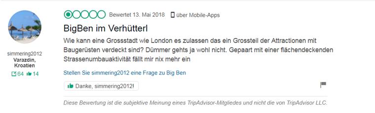TripAdvisor-Ärger über Big Ben