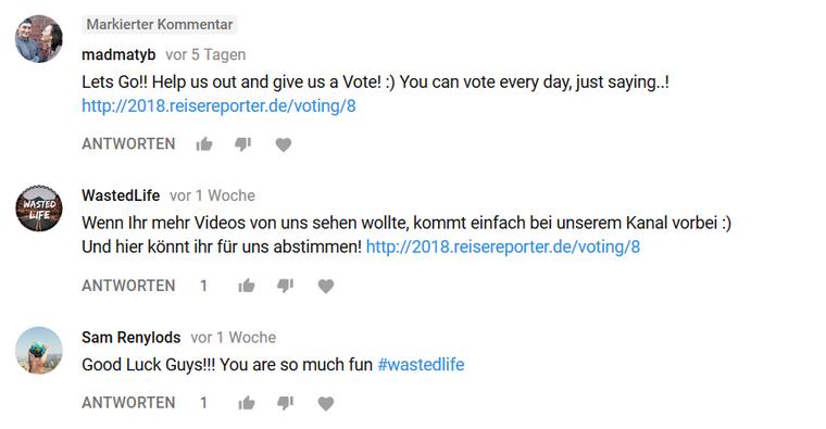 Ann-Sophie und Mathew sammeln auch auf YouTube Stimmen.