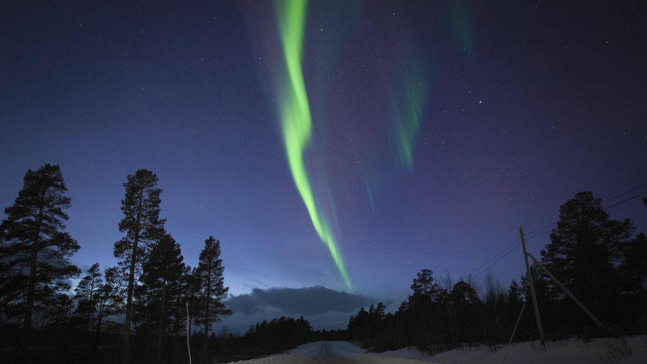 Nordlichter strahlen über einer verschneiten Straße bei Kiruna in Lappland, Schweden.