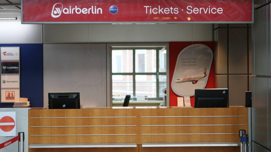 Ein Bild, das ab dem 28. Oktober Realität sein wird: ein verlassener Air Berlin-Schalter.