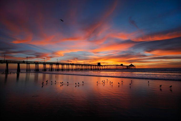 Imperial Strand in Kalifornien, nahe der mexikanischen Grenze im Abendrot