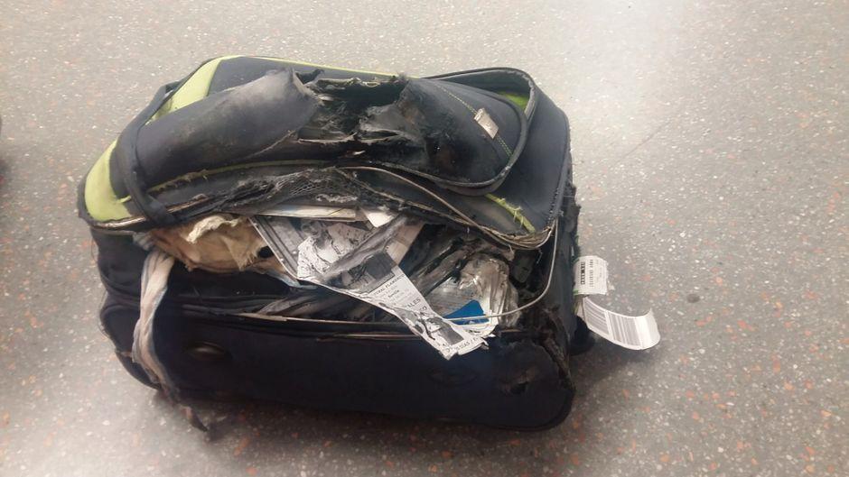 In diesem Zustand kam der Koffer von Jiwon Choi in London an.