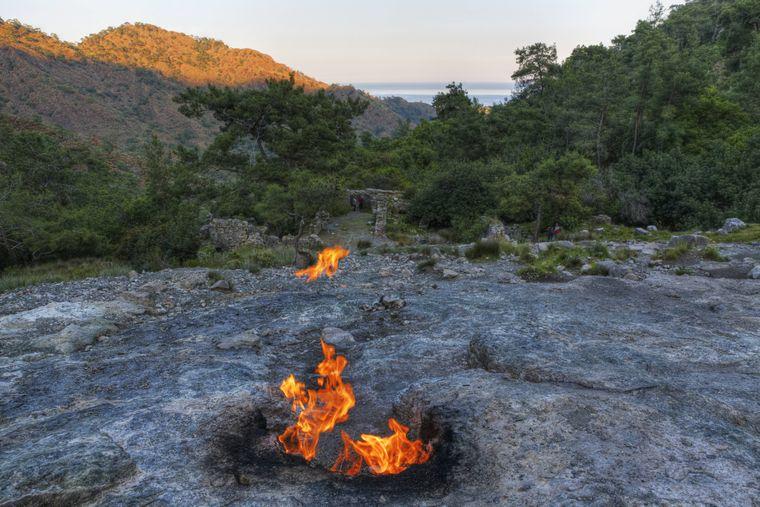 Die Flammen auf dem Berg Chimaera lodern seit Jahren ununterbrochen.