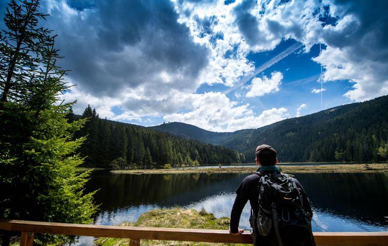 Ein Wanderer läuft im Bayerischen Wald am Kleinen Arbersee vorbei, im Hintergrund ist der Gipfel des Großen Arbers zu sehen.