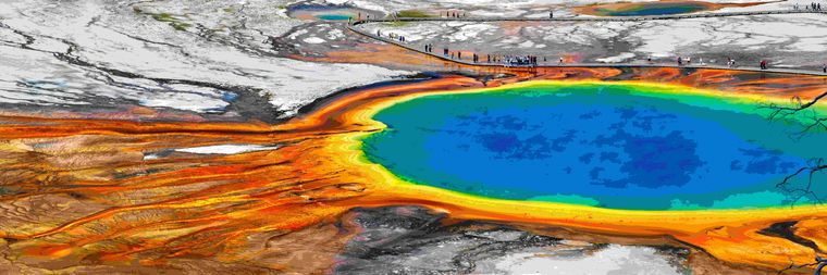 "Die ""Grand Prismatic Spring"" im Yellowstone National Park in den USA."