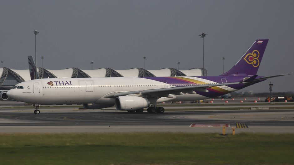 March 18, 2015 - Bangkok, Thailand - THAI s fleet as seen in Bangkok (BKK) Suvarnabhumi International Airport. Thai Airways the flag carrier airline of Thailand, is state owned by 51%. The current fleet is consisted of 80 wide body airplanes including with an order of 5 more Airbus A350. Thai operates the huge Airbus A380 and Boeing 747, but also the newly introduced Airbus A350 and Boeing 787 Dreamliner. Part of the fleet are the Boeing 777 and Airbus 330 as well. Thai serves America, Europe, Middle East, Asia, Africa and Oceania. The hub for the airline is Bangkok Suvarnabhumi Airport. The airline is part of Star Alliance and has a 2 subsidiary airlines, Thai Smile and Nok Air. Bangkok Thailand PUBLICATIONxINxGERxSUIxAUTxONLY - ZUMAn230 20150318_zaa_n230_342 Copyright: xNicolasxEconomoux  imago/ZUMA Press
