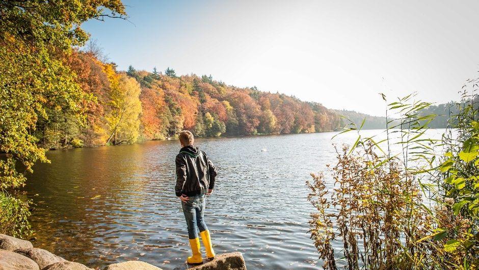 Der Schmalsee mit seinen bunt gefärbten Ufern.