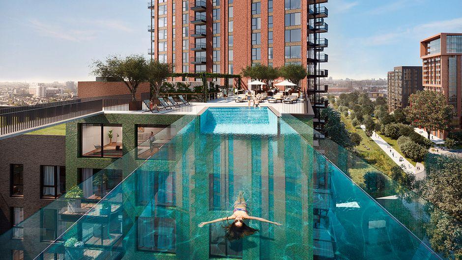Die durchsichtige Konstruktion aus Acrylglas fasst 400 Tonnen Wasser.