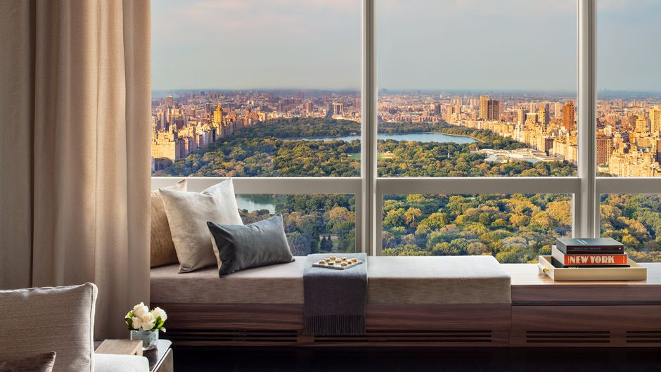 Der Blick auf den Central Park vom Wohnzimmer aus.
