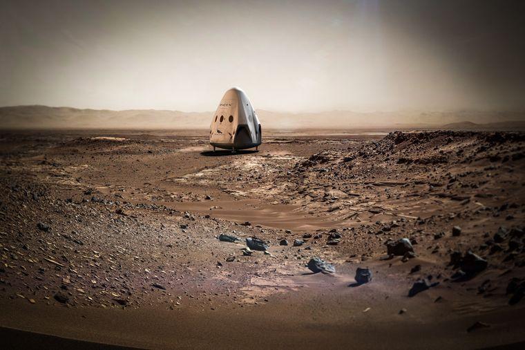 """Das Raumschiff """"Dragon"""" soll eines Tages bei der Besiedelung des Mars helfen. Renderings davon gibt es bereits."""