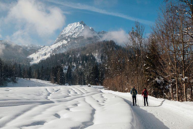 In der Region Sankt Johann in den Kitzbüheler Alpen gibt es etwa 100 Kilometer Winterwanderwege.