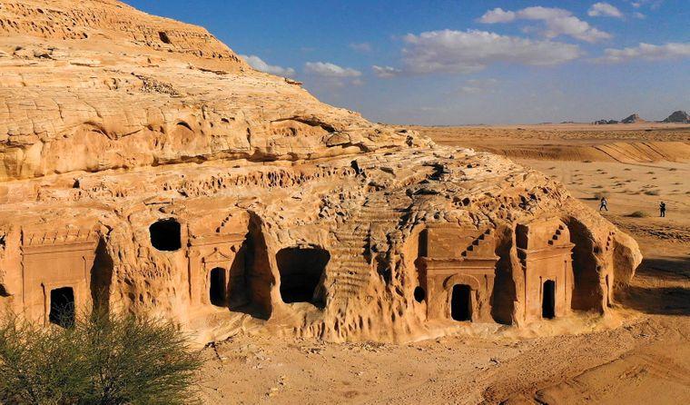Die Ausgrabungsstätte Mada'in Salih im Nordwesten von Saudi-Arabien.