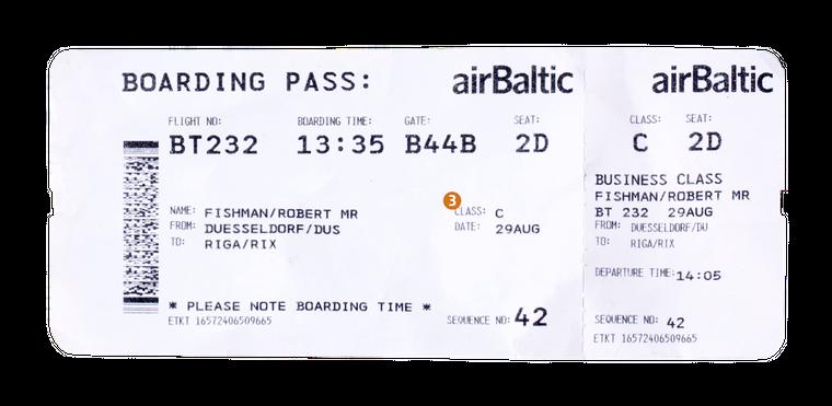 3. Hier steht deine Flugklasse. Unser Passagier fliegt diesmal in der Klasse C – der Buchstabe steht bei den meisten Airlines für die Business-Class.
