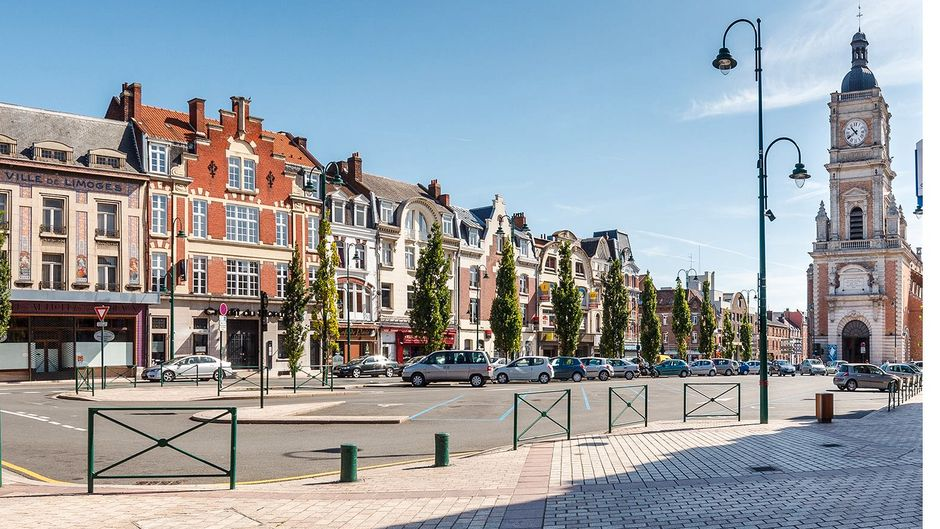 Die Innenstadt von Lens.
