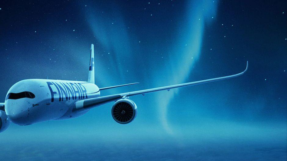 Während des virtuellen Fluges nach Lappland kommen die Passagiere auch in den Genuss von Polarlichtern.
