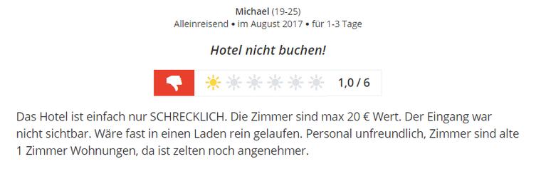 Miese Hotelbewertung für Hamburger Hotel auf Bewertungsportal.