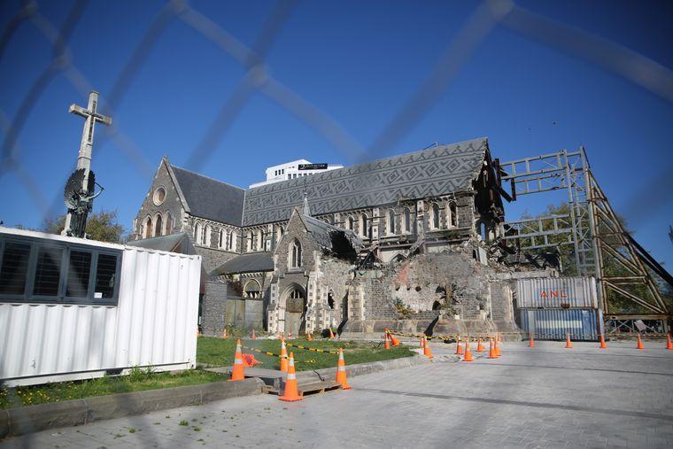 Bei einem Erdbeben im Februar 2011 zerstörte Kirche in Christchurch, Neuseeland.