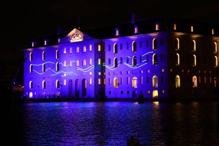 """Das Lichtprojekt """"Blueprint"""" beim Lichtfestival Amsterdam."""