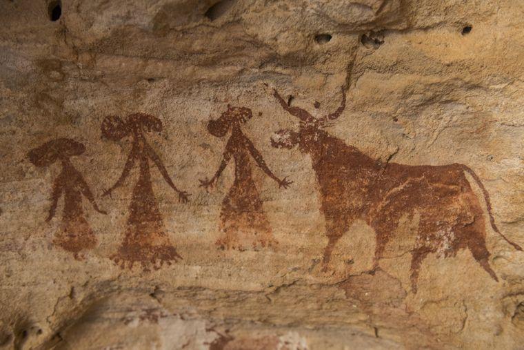 Felsmalereien im Ennedi Plateau im Tschad.