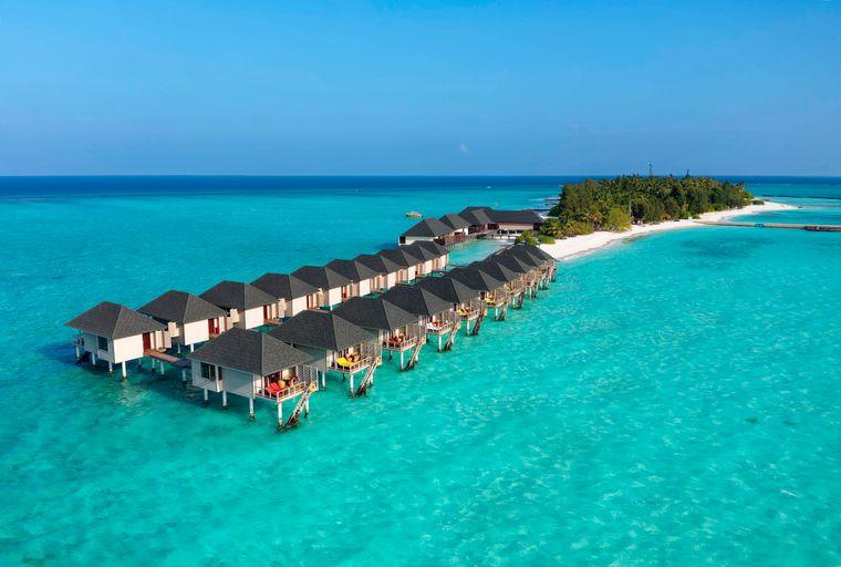 Wasserbungalows auf dem Nord-Mal-Atoll auf den Malediven.