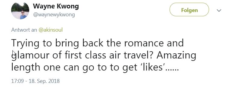 """""""Versucht sie, die Romantik und den Glamour von Erste-Klasse-Flugreisen zurückzubringen? Unglaublich weit kann jemand gehen, um Likes zu bekommen."""""""