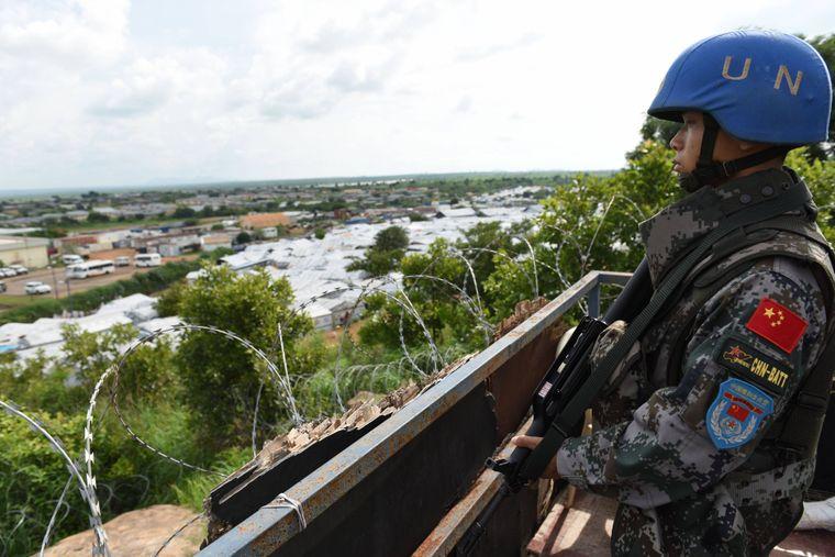 Blauhelmsoldat im Südsudan.