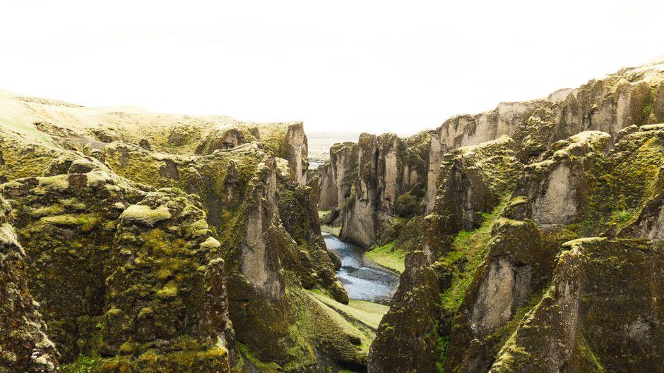 Der Fjaðrárgljúfur bahnt sich seinen Weg durch die metertiefe Schlucht.