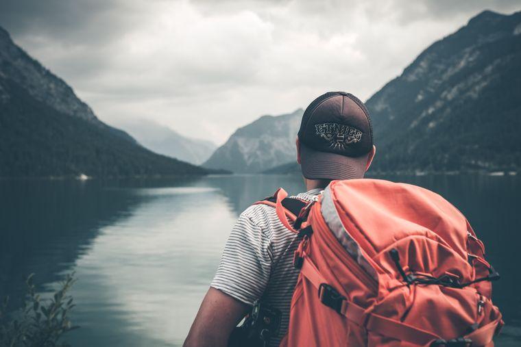 Backpacker auf Weltreise.
