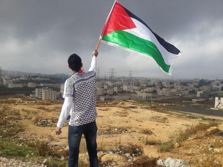 Ein junger Mann schwenkt die Flagge des Staates Palästina.