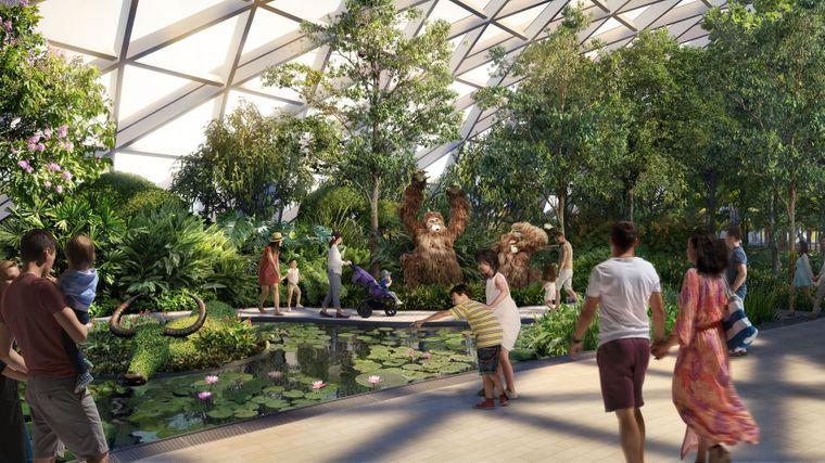 Tierskulpturen im geplanten Canopy Park im Flughafen Singapur.