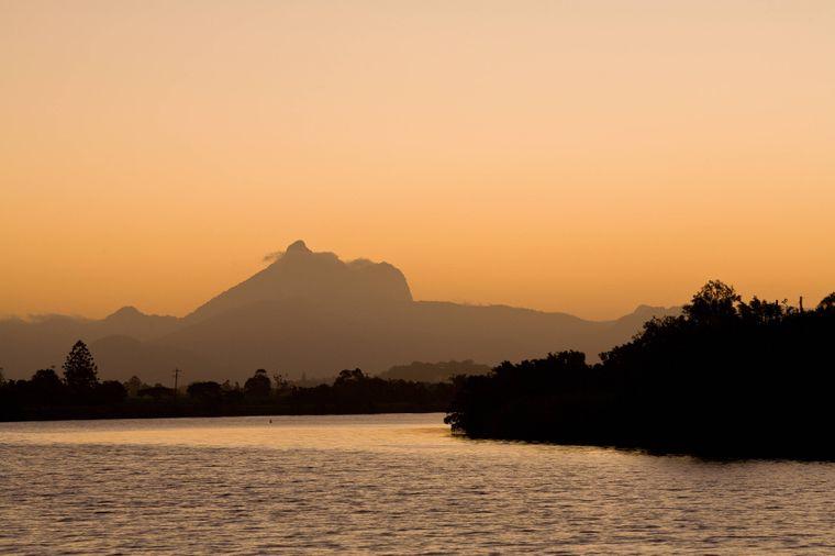 Mount Warning während des Sonnenuntergangs.