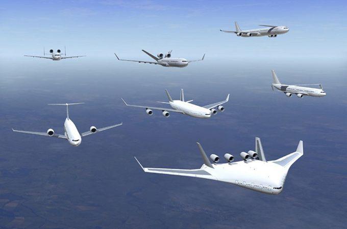 Desings möglicher Flugzeugtypen.