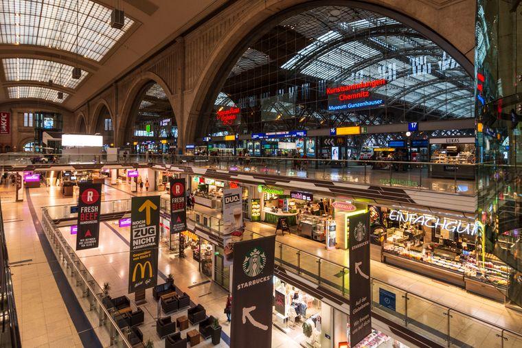 Der Leipziger Hauptbahnhof von innen.