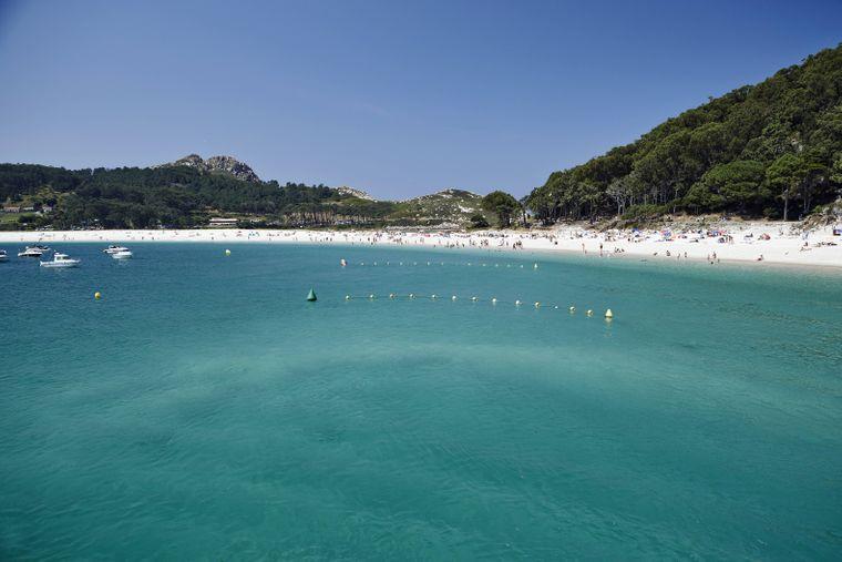 Der Rodas-Strand auf Cíes – die Strände der atlantischen Inseln in Galizien zählen zu den schönsten der Welt.