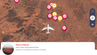 Flugkarte der Inflighto-App mit markierten Sehenswürdigkeiten.