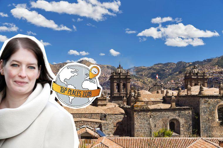 Blick auf die Stadt Cusco in Peru mit Fotomontage.