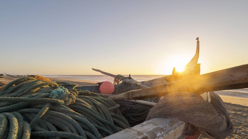 Weit vor Sonnenaufgang lassen die Fischer ihre Boote zu Wasser, um Kabeljau zu fangen.
