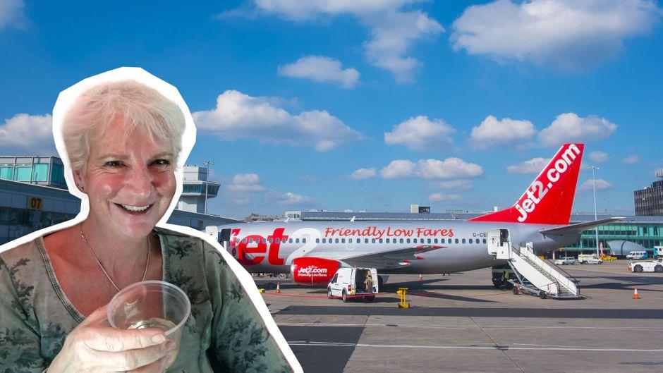 Karon Grieve flog mit einer Jet2-Maschine in den Urlaub – und zwar ganz allein (Fotomontage).