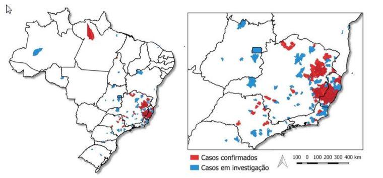 Grafische Darstellung der aktuellen Gelbfieber-Ausbreitung