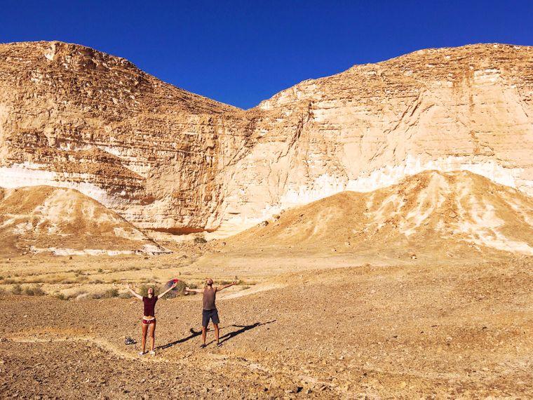 Das Pärchen ist den Israel National Trail gewandert und war dabei tagelang in der einsamen Wüste unterwegs.
