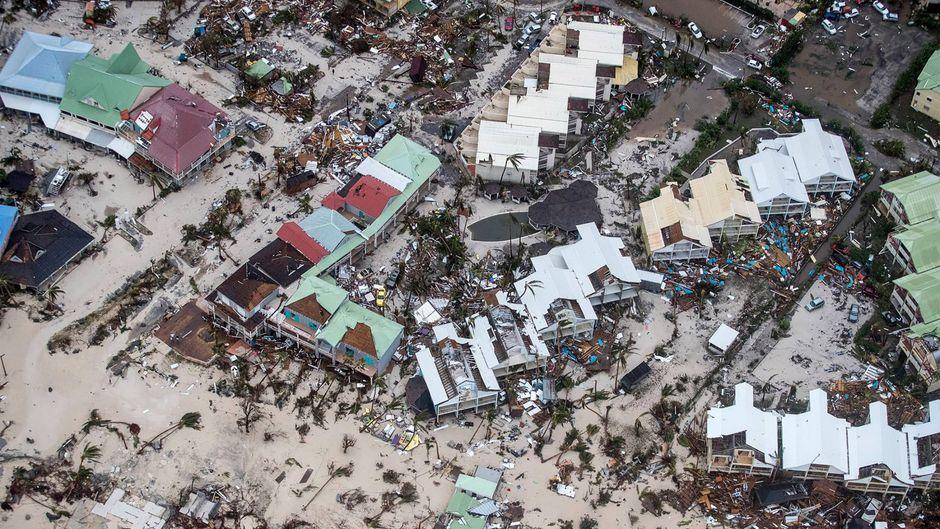 Diese Luftaufnahme zeigt das Bild der Zerstörung auf Sint Maarten (Saint-Martin).