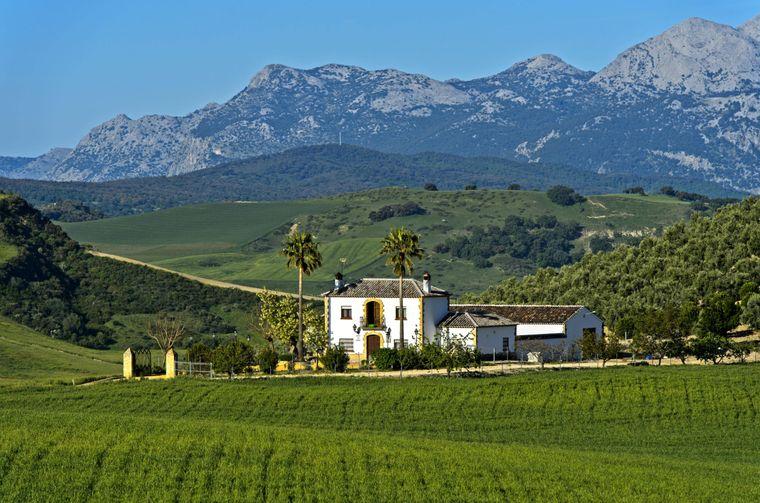 Andalusische Hügellandschaft mit typischer Finca.