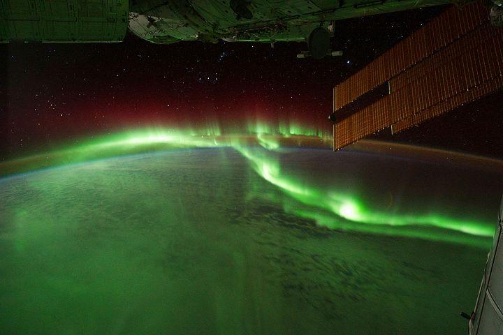 Südlichter über dem Indischen Ozean, aufgenommen von der Internationalen Raumstation (ISS).