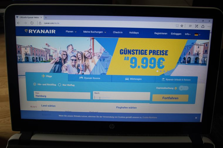 Homepage von Ryanair.