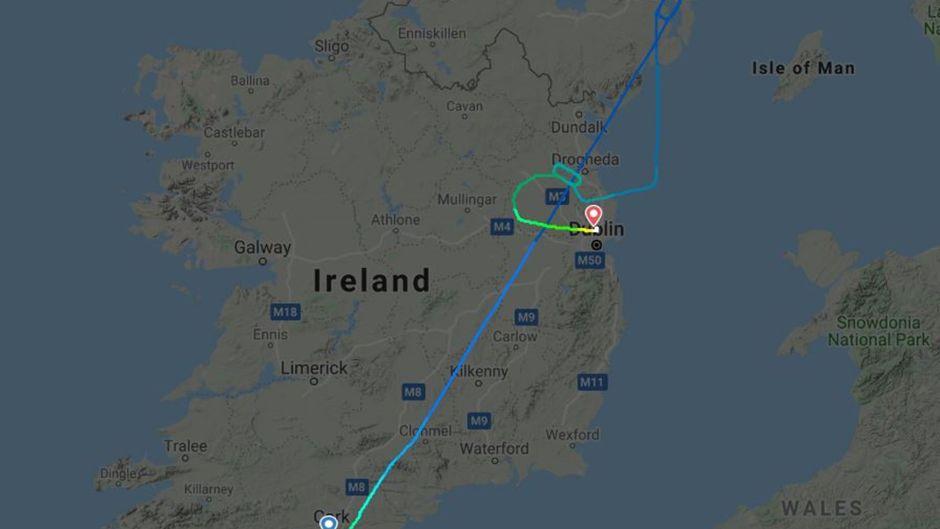 Route des Fluges EI3806 vom 14. Oktober 2019 über Irland.
