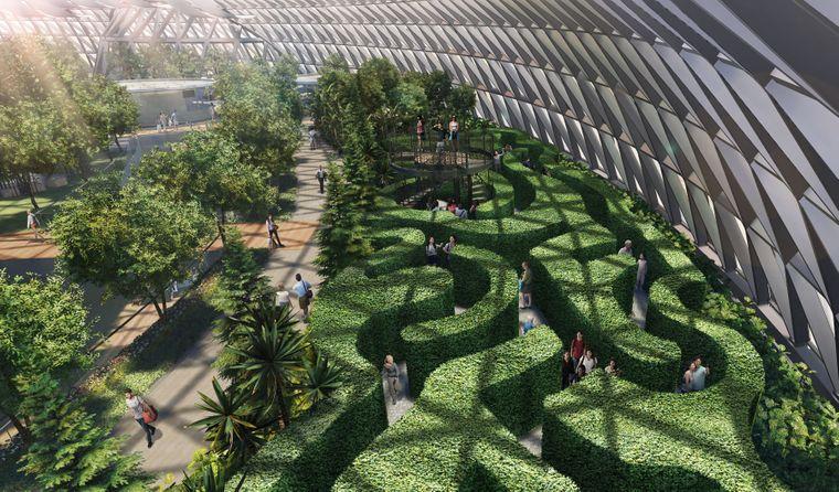 Heckenlabyrinth im geplanten Canopy Park im Flughafen Singapur.