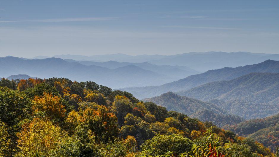 Blick von oben auf den Great-Smoky-Mountains-Nationalpark mit herbstlichen Farben.