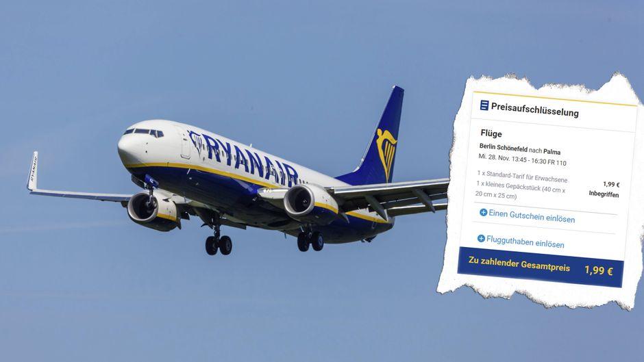 Von Berlin nach Palma? Bei Ryanair kostet der Flug gerade 1,99 Euro. (Fotomontage)
