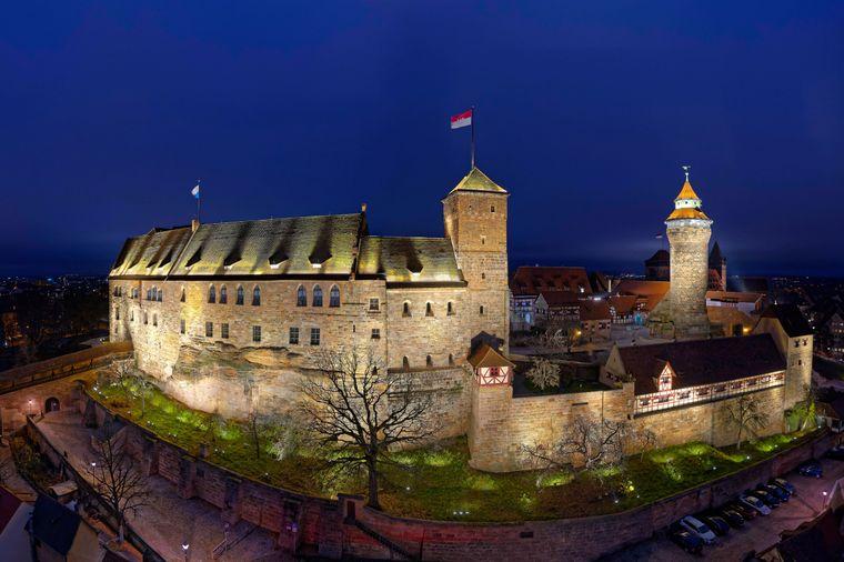 Die wunderschöne Doppelburg, bestehend aus Kaiserburg und Burggrafenburg, in Nürnberg.